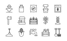 Farm Line Style Icon Set Desig...