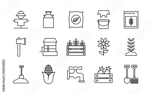 Fototapeta farm line style icon set design, agronomy lifestyle agriculture harvest rural farming and country theme Vector illustration obraz