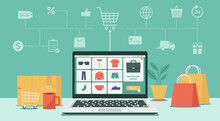 Online Shopping Or Digital Store On Laptop Computer Concept, Men Fashion Products From E-shop With Icons And Goods, Vector Flat Graphic Illustration