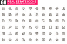 Real Estate Thin Line Icon Set. Real Estate Agency Outline Pictograms For Website And Mobile App GUI. Building Sale And Rent Simple UI, UX Vector Icons. 48x48 Pixel Perfect Linear Pictogram Pack.