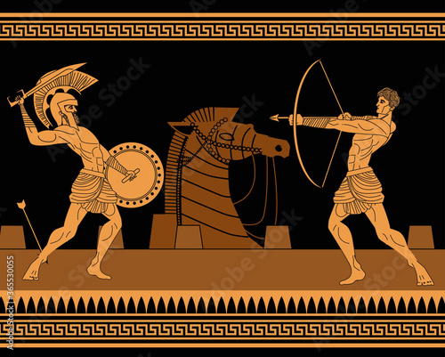 orange and black figures pottery amphora painting of troy war with achilles figh Canvas Print