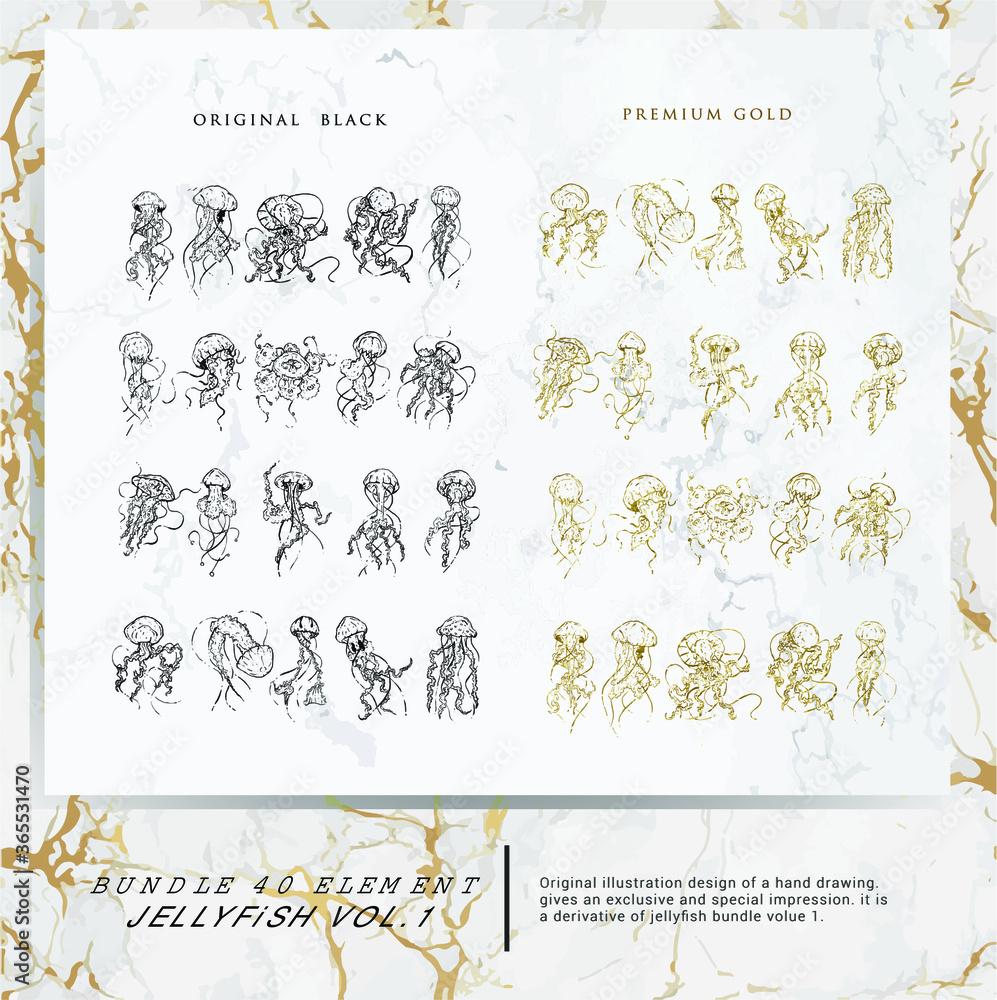 Fototapeta 40 bundle jellyfish hand drawing premium design with original black and premium gold