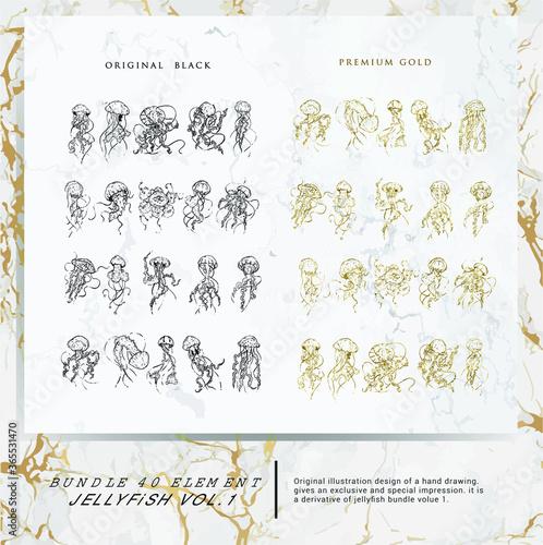 Fotografering 40 bundle jellyfish hand drawing premium design with original black and premium