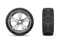 Car Tires With Snow Chains For...