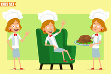 Cartoon Flat Funny Little Chef Cook Girl Character In White Uniform And Baker Hat. Kid Carrying Fried Chicken And Showing Okay Sign. Ready For Animation. Isolated On Olive Background. Vector Set.