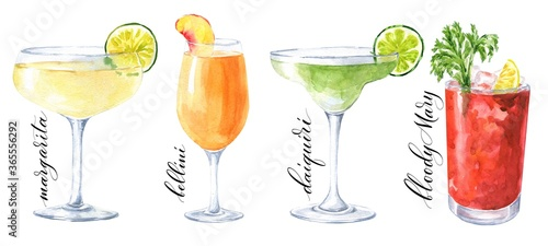 Cuadros en Lienzo Hand drawn watercolor cocktails isolated on white background
