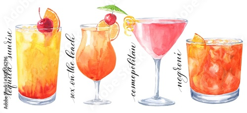 Valokuva Hand drawn watercolor cocktails isolated on white background