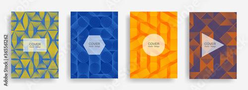 Obraz Halftone shapes business catalog covers vector design. - fototapety do salonu