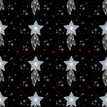 Seamless Pattern Black Background. White And Red Stars On Black Background.