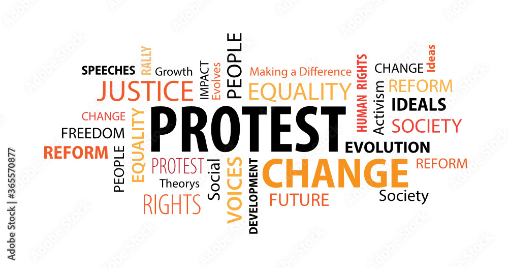 Fototapeta Protest Word  Cloud on a White Background