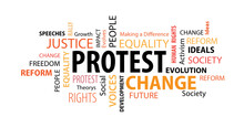 Protest Word  Cloud On A White...