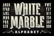 Elegant Condensed Alphabet With 3d Effects Of Letters Carved From White Marble