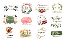 Premade Logo With Floral And Brush Stroke Watercolor Collection