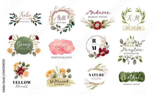 premade logo with floral and brush stroke watercolor collection Fototapete