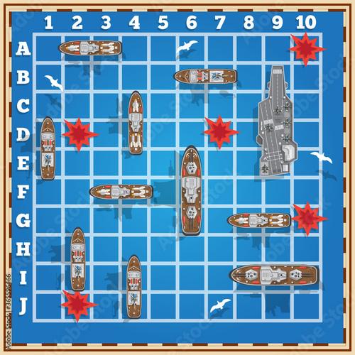 Fotografía Sea battle. Board game. Vector illustration.