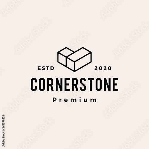 Photo cornerstone hipster vintage logo vector icon illustration