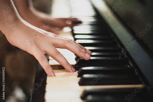 Fotografie, Obraz The girl plays the piano, photo in large plan