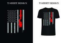 Diver USA Flag T-shirt Design