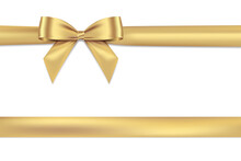 Golden Bow Realistic Shiny Satin And Ribbon Place On Corner Of Paper With Shadow Vector EPS10 Isolated On White Background