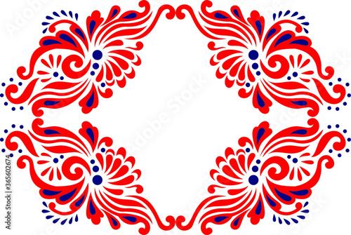 beautiful folk art, floral decoration beautiful flower illustration Fototapet