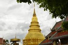 Golden Pagoda Wat Phra That Hariphunchai, Lamphun Province Thailand.