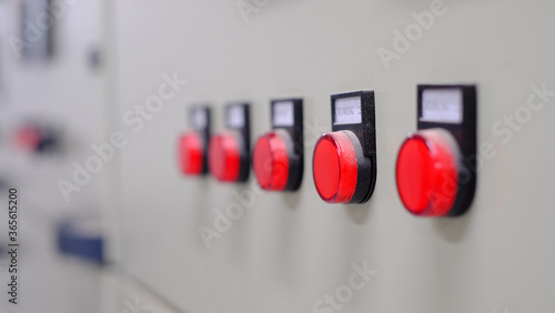 Fototapeta Electrical part and accessories in the  control cabinet , control and power distributor,lockout ,tagout