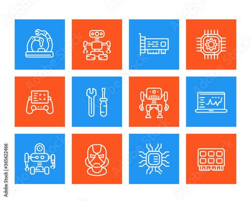 Fotografie, Obraz Robotics, mechanical engineering, robots linear icons set