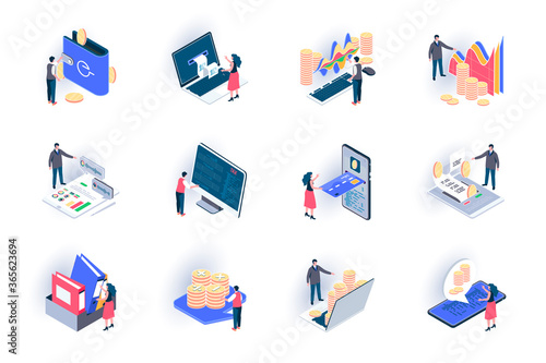 Business accounting isometric icons set. Financial management, consulting and audit service flat vector illustration. Stock trading, investing analytics 3d isometry pictograms with people characters.