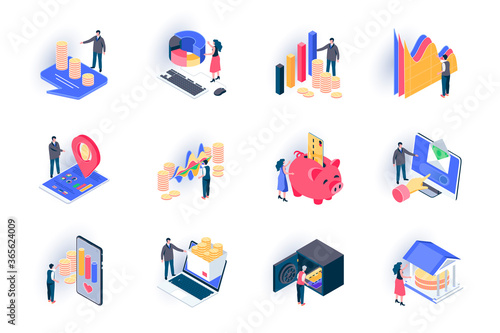 Obraz Finance isometric icons set. Stock trading, capital investment flat vector illustration. Financial transaction, bank account, money income and payment 3d isometry pictograms with people characters. - fototapety do salonu