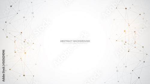 Fototapeta Abstract polygonal background with connecting dots and lines. Global network connection, digital technology and communication concept. obraz