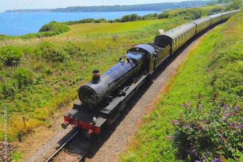 Fototapeta Train with vintage locomotive
