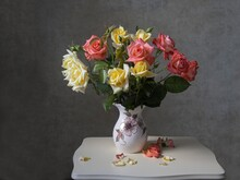 Still Life With Bouquet Of Roses In Vase