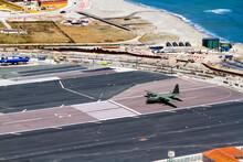 Gibraltar Airport Runway And La Linea De La Concepcion In Spain, Southern Andalucia Region, Cadiz Province.