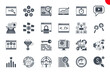 Seo Glyph Related Icons Set on White Background. Simple Solid Pictogram Pack Stroke Vector Logo Concept for Web Graphics.