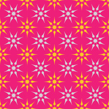 Seamless Orange And Turquoise Octagonal Star Pattern Design On Pink Background.