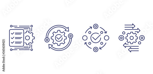 project management, efficiency line icons