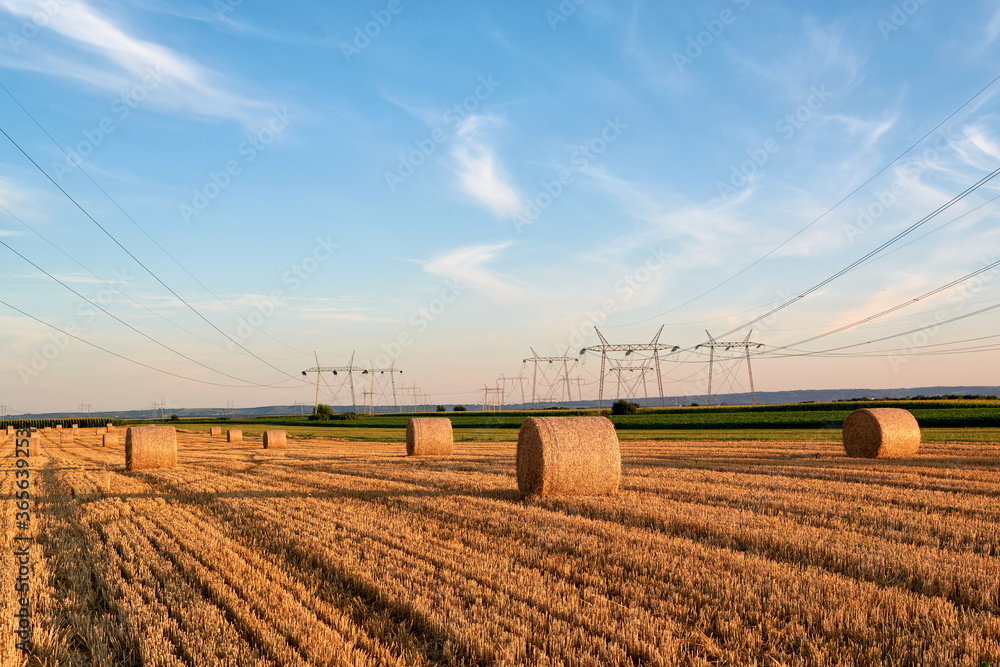 Fototapeta stubble field with bales and transmission line