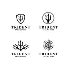 Trident Neptune God Poseidon Triton King Spear Logo Design