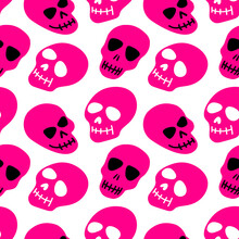 The Pattern Of The Skull. Pink Skulls On A White Background.Vector Illustration Of A Skull. Bright And Fashionable Design For Halloween, Day Of The Dead, Tattoos, Prints