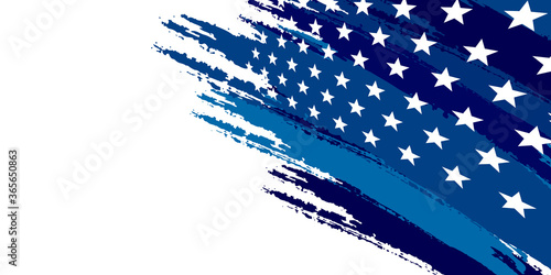 Photo Blue abstract background with brushes flag and stars