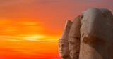 Statues on top of the Nemrut Mountain at sunset - Adiyaman, Turkey