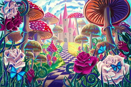 Fototapeta fantastic landscape with mushrooms, beautiful old castle, red and white roses and butterflies