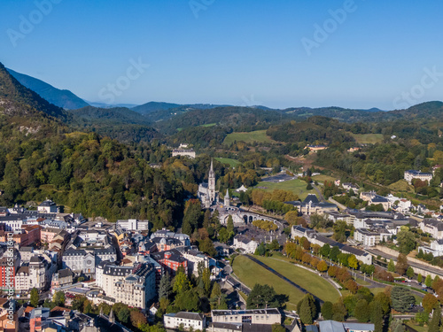 Aerial view of the Lourdes and Sanctuary of Our Lady, France Canvas Print
