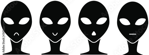 Photo Black and white set of humanoid icons. Emotions of an alien.