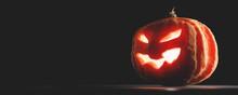 Halloween Pumpkin Glowing. Jack-o'-lantern
