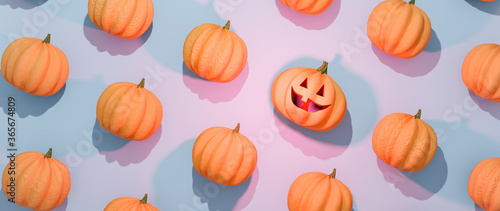 Fotografie, Obraz Halloween pumpkins flat lay composition with one Jack-o'-lantern scary carved face