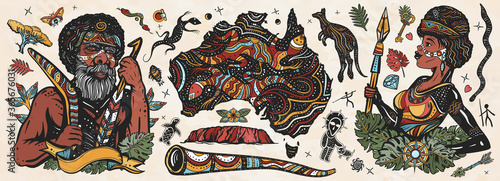 Fototapeta Australia. Old school tattoo vector collection. Ethnic Australian woman in traditional costume. Aboriginal tribes bushmen. Boomerang,  kangaroo, didgeridoo, map. Tradition, people, culture obraz