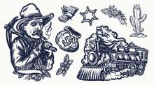 Wild West. Old School Tattoo V...