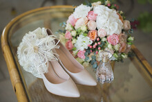 Wedding Shoes With Bouquet Of ...
