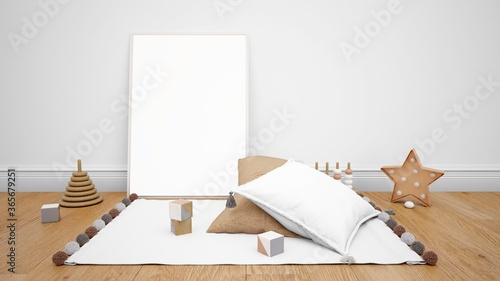 Photo 3D render of mirrors, pillows, toys, and decorative objects on the wooden floor